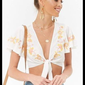 Embroided tie front crop top